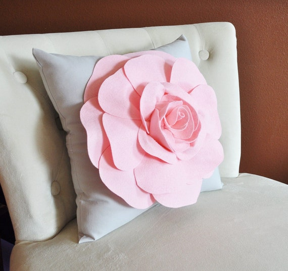 Light Pink Rose on Light Grey Pillow 16x16