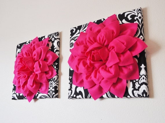 two wall flowers hot pink dahlia flowers on black and by