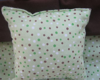 Green Polka Dot Doll Bedding, blanket and pillow for 18 Inch Dolls