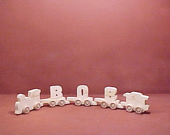 Handcrafted Wood Toy  3 Letter Name Train  unfinished or finished