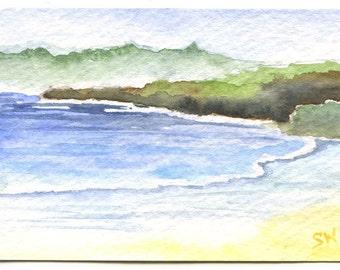 California Coast Watercolor Painting ACEO Fine Art Print