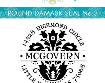 1.5 X 1.5 inch --  Round DAMASK Style No. 3  --  Personalized Return Address Stamp
