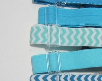 Adjustable Elastic Headband Hair Band Girl Baby Woman Headband Sport Headband- 5 In Set Turquoise