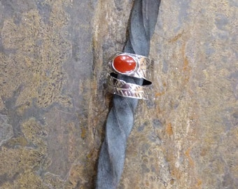 Sterling Silver Wrap Finger Ring with Red jasper Cabochon and Botanical Design of Leaf Veins - Stamped, Silversmithed, Hand Forged