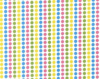 Robert Kaufman Fabric, Candy Stripe Dots in Spring, Remix Collection by Ann Kelle, 1 Yard