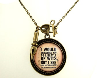 William Shakespeare Necklace Literary Quote Necklace Witty Literary Quote Literary Jewellery Book Lover