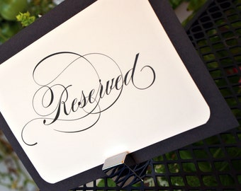 Elegant Reserved Sign - Flat Card - Custom Colors Available - Set of 2