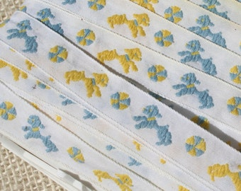 Vintage Jacquard Ribbon Childrens Trim Blue Yellow Puppy Dogs and Balls