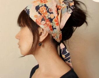 Hair scarf - Cotton Multi size -Kimono print Navy, Pink, floral