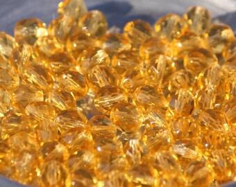 10 pieces of light topaz 8 mm fire polished czech crystal beads (CZ08-58)