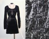 VTG Black Velvet Puffed Sleeve Gothic Grunge Gypsy Mini Dress