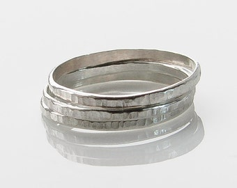 Stacking Rings in Sterling Silver, Set of Three, Hammered Custom Jewelry