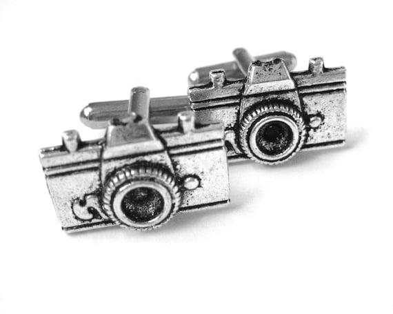 Silver Camera Cufflinks - Mens Camera Strap Pin - Novelty Cufflinks Set - Wedding Photographer Gift - Photography Business Gift