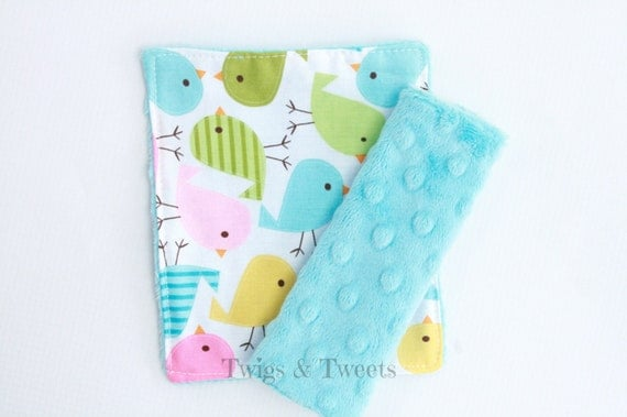 Spring Birds Car Seat Strap Covers on Turquoise Minky Dot