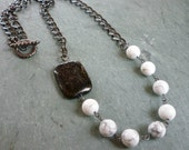 Necklace - Black Star Jasper and Howlite Gemstone Beads