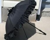 Victorian Black Silk Taffeta Parasol - Repro