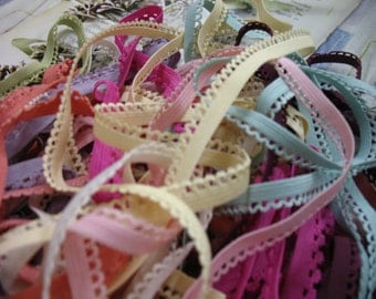 "22 yards 3/8"" width 11 colors lingerie elastic  trim with scalloped edge"