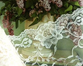 """Simple beautiful 25 yards 4"""" width wedding bridal soft shimmery floral pattern scalloped ivory lace trim"""