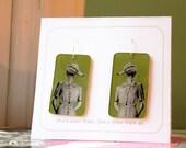 CUSTOM ORDER for carandy -- green duck earrings