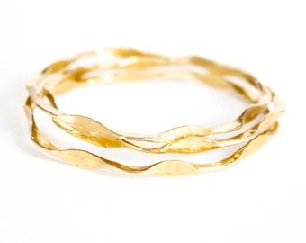 "Gold Bangle Set  - "" I'm Hammered Bangles "" - Brass Bangle Set of Three - Delicate Gold Hammered Bangles - Closed Round Bangles"