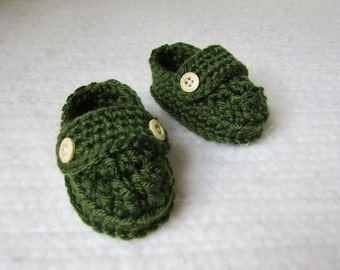 Crochet Baby Loafer Booties - 0 to 3 Months - Forest Green