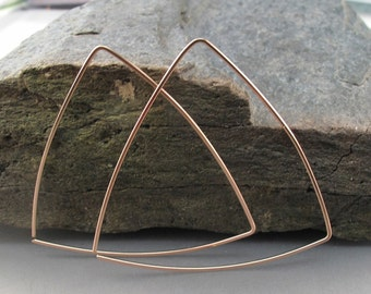 triangle HOOP earrings 14kt gf. gold. sterling silver. argentium silver. niobium.  2 inch. nickel free. Cecile Stewart Jewelry No.00E282