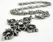 Vintage and Gray Rhinestone Fashion Cross Crystal Rhinestone Jewelry Necklace Pendant