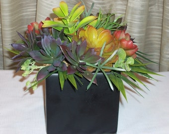 Modern Planter of Faux Succulents