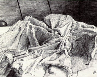 Morning bed - original drawing of crumpled sheets - pen and ink