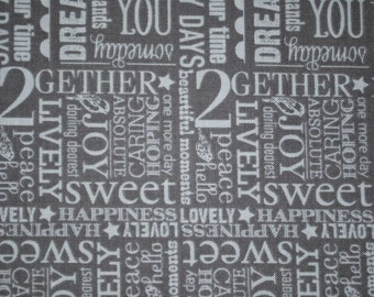 Sale-Remember Me from Riley Blake Fabrics --  Full Yard Gray Dreamer, 2Gether, Words Coordinate Quilt Fabric