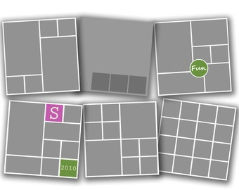 INSTANT DOWNLOAD - Photography 20x20 Storyboard Blog Board Template Collection, Square Corners - set of 6 - 0584