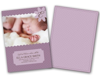 INSTANT DOWNLOAD - Birth announcement photo card template, 5x7 card - 0178
