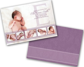 INSTANT DOWNLOAD - Birth announcement photo card template, 5x7 card - 0179