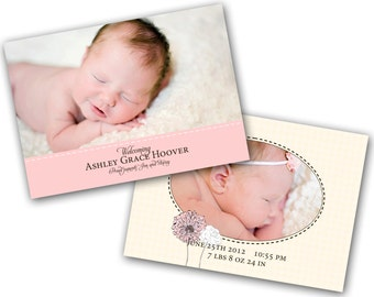 INSTANT DOWNLOAD - Birth announcement photo card template, 5x7 card - 0217