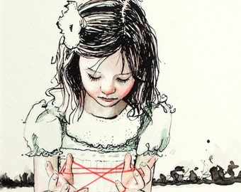 Cat's Cradle. an ink and watercolor study. signed Art Print