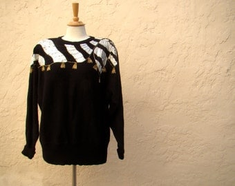 Vintage 80s / New Wave / Sequin and Gold Beaded / Sweater / MEDIUM