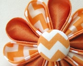 Orange Silk Kanzashi Flower Hair Clip with Orange Chevron Print Petals and Button - Handmade in USA