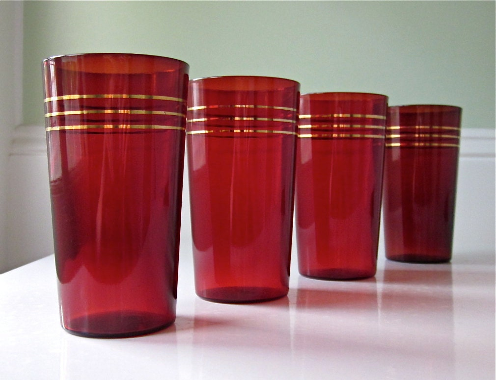 Vintage Drinking Glasses Ruby Red Depression Glass Tumblers