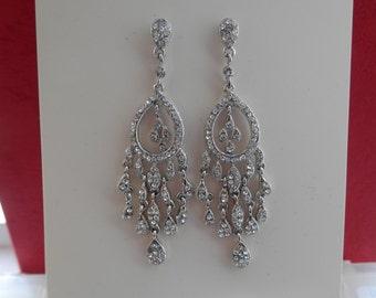 Bridal Chandelier Earrings, Wedding Earrings, Rhinestones Earrings, Perfect Gift (E2156)