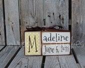 Baby boy girl birth name blocks wood custom nursery room decor gift shower personalized announcement