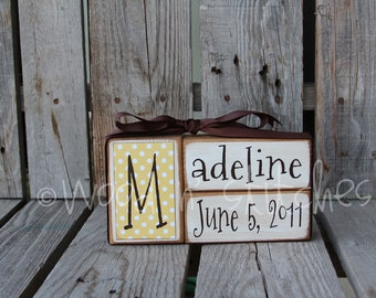Baby boy girl birth name blocks wood custom nursery room decor gift shower personalized announcement