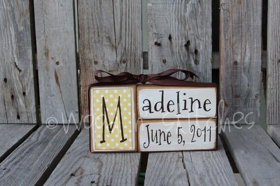 Baby Boy Girl Birth Name Blocks Wood Custom Nursery Room Decor