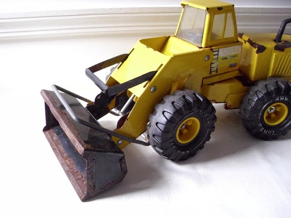 Vintage Tractor Front Loader : Vintage tonka tractor rusty s yellow metal by akovintage