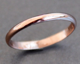 Rose Gold Vermeil Ring Simple 2mm Band - READY TO SHIP (Size 9.5)