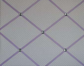 White & purple polka dot french memo board, 16 x 20
