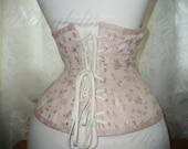 VICTORIAN UNDERBUST CORSET, edwardian, flesh pink coutil , pearl buttons, hidden zip, steel bones, romantic gift, underwear - KarybdisAtelier