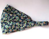 Yoga Headband Cotton Bandana - Amy Butler Lark Button Flower in Navy fabric