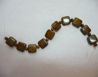 SALE!! Bead, Blue Moon Beads, Chrysanthemum Stone, Gemstone, Natural, Round, Puffed Square, 6 Inches Strand