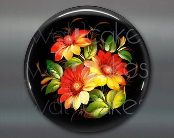 "3.5"" floral fridge magnet, russian trays flower decor, kitchen decor, large magnet, decorative magnet, stocking stuffer MA-333"