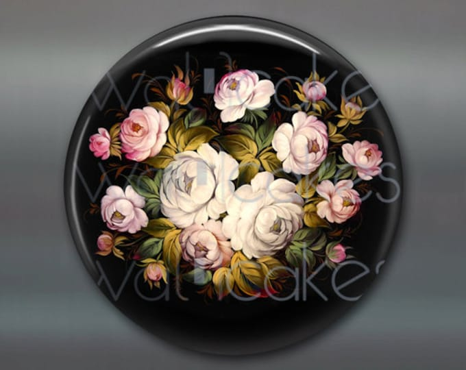 "3.5"" floral fridge magnet, russian trays flower decor, kitchen decor, large magnet, stocking stuffer  MA-336"